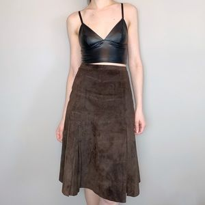 Vintage brown suede high waisted skirt